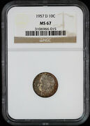 1957 D Roosevelt Dime 10c Ngc Ms 67 Ft | Unc Uncirculated Full Torch