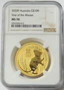 2020 P Gold 100 Australia 1 Oz Lunar Year Of The Mouse Coin Ngc Mint State 70