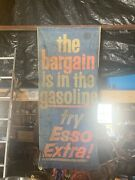 Vintage Esso Extra Gasoline Banner Sign Very Hard To Find Rare 6.75andrsquox3andrsquo