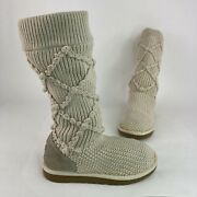 Ugg Classic Cardy Women's Size 7 Beige Argyle Sweater Knit Pull Up Shoes Boots