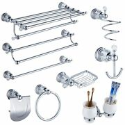 Bathroom Accessories Sets Polished Chrome Solid Brass Modern Hardware Supply New