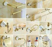 Crystal Brass Bathroom Hardware Accessories Wall Mounted Ceramic Base Decoration