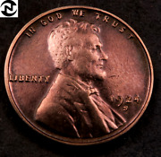 1924-s Lincoln Wheat Penny Cent // Uncirculated Red-bn // W149
