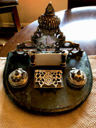 Beautiful Vintage Brass And Marble Desk Seat Ink Well With Business Card Holder