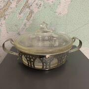Pyrex Casserole Dish With Embossed Metal Base / Carrier And Etched Glass Lid