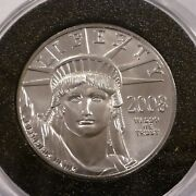 2008 100 Us Statue Liberty 1oz Platinum 9995 Fine Uncirculated Coin Only 21,800