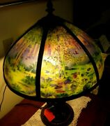 Antique Reverse Painted 6 Panel Lamp Probably Pittsburgh Early 1900's
