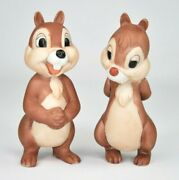 Rare Vintage Disney Chip And Dale Hand Painted Porcelain Bisque Figurines