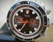 Tudor Heritage Chronograph 70330n Black Dial Box And Papers 42mm