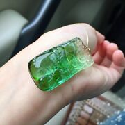 412110mm Natural Clear Watermelon Tourmaline Crystal Carving Pendant Aaaa