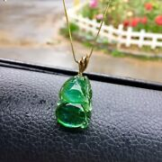 251711mm Natural Clear Green Tourmaline Crystal Carving Pendant Aaaa
