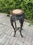 Antique Chinese Carved Table With Top Insert Plum Flower Motif36andrdquo