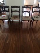 Duncan Phyfe-style Rose Carved Mahogany Chairs 1900-1950 Fruit Needle-point.