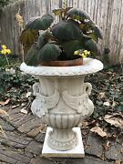 Rare Antique Marble Garden Planter Urn With Two Carved Swans Gracing Sides