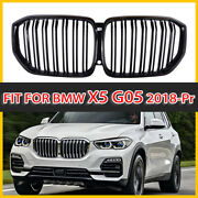 Front Kidney Grille Grill Gloss Black Dual Salt For Bmw G05 X5 2018-2020 Dhl