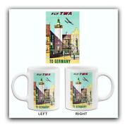 Fly Twa To Germany - Trans World Airlines - 1950's - Travel Poster Mug