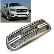 Painted Silver Ps2 Grill For 2019 2020 Dodge Ram 1500 Grille W/ Smoke Led Lights