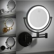 Bathroom Led Makeup Mirror Double-sided Wall Mounted Round Mirrors Toilet Supply