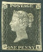 Sg 2 1d Black Plate 2 Dk. A Fine Mint 4 Small To Good Margin With Rps Cert
