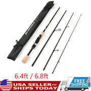 Travel Spinning Fishing Rod Lightweight Carbon Fiber 4 Pieces Fishing Pole L8e6