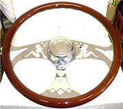 International Wood And 3 Chrome Spokes 18 Inch Lady Steering Wheel Rig 65026