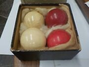 4 Antique 3 Cushion Billiard Balls 1800and039s In Orig Box From Totans And Schmidt