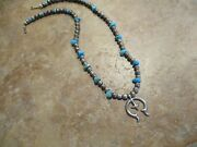 Older Vintage Navajo Sterling Silver Turquoise Rope Strung Naja Bead Necklace