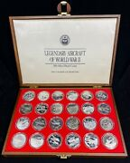 1991 Silver Proof Coin Set Legendary Aircraft Of Ww Ii With Box 24 Coins