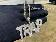 10k Solid Yellow Gold And Si Diamond 3.00 Ct Trap Letter Pendant With 10k Chain