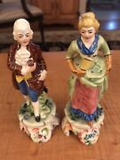 """Pair 7"""" Vintage Colonial Figurines Made In Italy"""