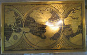 Roy E. Little Etched Brass Magallanica Old World Map Framed Art Work