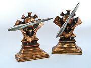 Rare Antique Charles Lindbergh Airplane Propeller Engine Commemorative Bookends✈