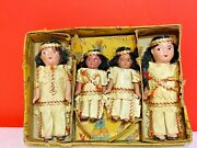 Set Of 4 Vintage 1950andrsquos Sioux Bisque /ceramic Native American Indian Dolls