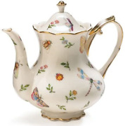 Porcelain Butterfly And Dragonfly Teapot Trimmed In Gold