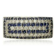 Pre-owned French Sapphire And Diamond Rectangular Cluster Ring