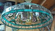 Style Hanging Ceiling Lamp Fixture Cut Stained Glass Shade Hummingbird