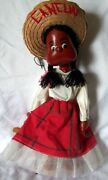 Vintage Cancun Mexican Lady Folk Character String Puppet /marionette