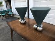 Pair Of Teal Leather And Steel 1980s Mid Century Modern Stanley J Friedman Tables