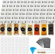 Glass Spice Jars With Labels 4oz Square Bottle Airtight Metal Caps Shaker Lids