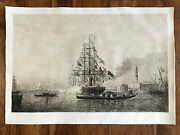 Felix Ziem And039the Kick Canon Andraquo Large Engraving Antique In Landrsquo Water Fortesigned