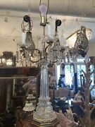 Pair Of Large Vintage Antique Brass And Crystal Style Candelabra Lamps