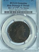 1797 Draped 1c Large Cent Pcgs Certified F Details - Rev Of 1797 No Stems S-131