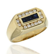 Gentlemans 0.42ctw Synthetic Sapphire And 0.42ctw Diamond Ring In 14ky Gold