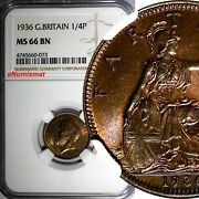 Great Britain George V 1910-1936 1936 Farthing Ngc Ms66 Bn Top Graded Km 825