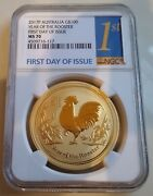 2017 Australia 1 Oz. 100 Gold Lunar Year Of The Rooster Ngc Ms70 1st Day Issue