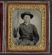 Photo Civil War Confederate With Colt Revolving Rifle And D Guard Bowie Knife