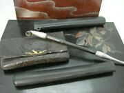 Antique Chinese Silver And Bamboo Tobacco Pipe W. Holder Pouch Early 20c Hm