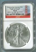 2012 S American Silver Eagle Coin Ngc Ms69 San Francisco First 50 Boxes Golden