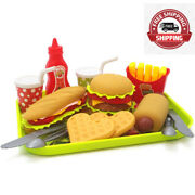 Burger Fast Food Play Set Pretend Kitchen Toy Food Set For Kids And Toddlers