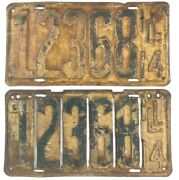 Illinois 1914 Antique License Plate Pair Slotted Front Yellow Vintage Man Cave